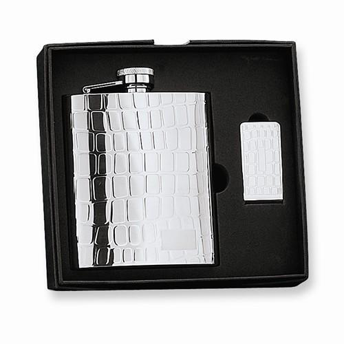 8 Oz. Stainless Steel Gift Boxed Flask Set