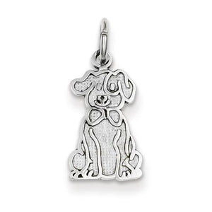 14K White Gold Puppy Charm