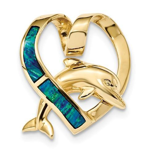 14k Polished With Imitation Blue Opal Heart With Dolphin Slide