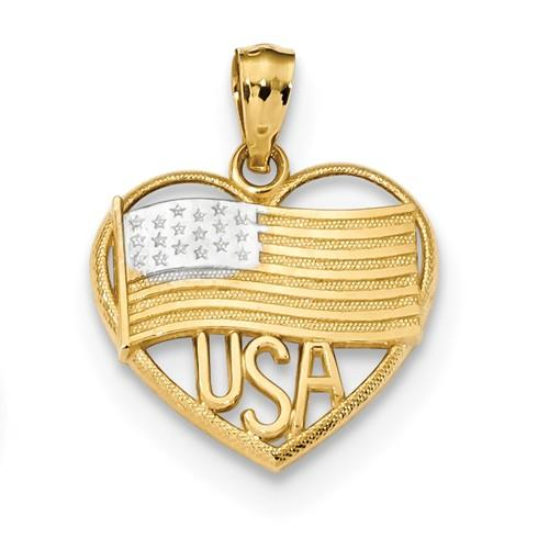 14K Two Toned American Flag And USA In Heart Pendant
