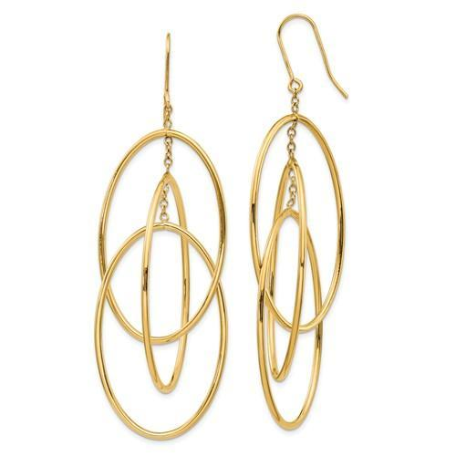 Leslies 14k Polished Layered Oval Dangle Earrings