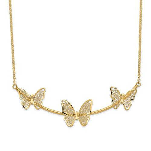 Leslie's 14K Polished Filigree 3-Butterfly Bar Necklace