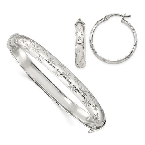 Sterling Silver Diamond Cut Bangle 7.5mm And Hoop 5mm Earring Set