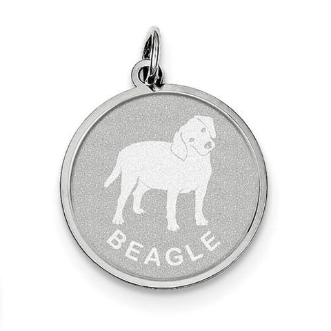 Sterling Silver Beagle Disc Charm