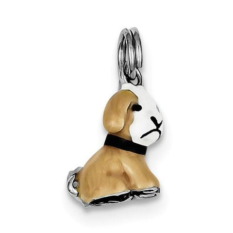 Sterling Silver Enamel Dog Charm