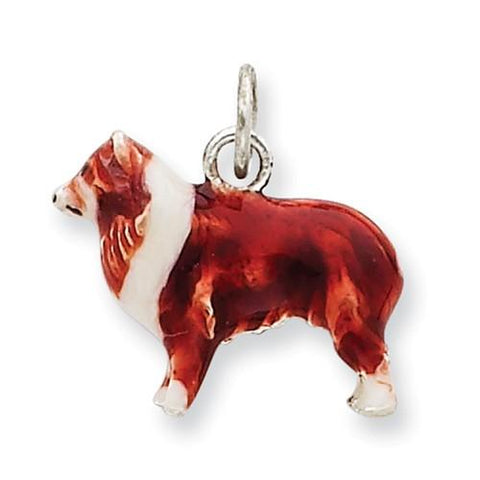 Sterling Silver Enameled Small Collie Charm