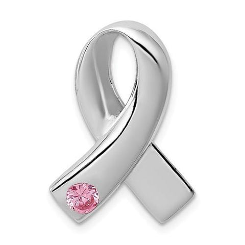 Sterling Silver Pink CZ Awareness Ribbon Pendant