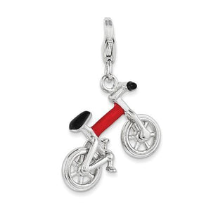 Sterling Silver 3-D Enameled Bicycle with Lobster Clasp Charm