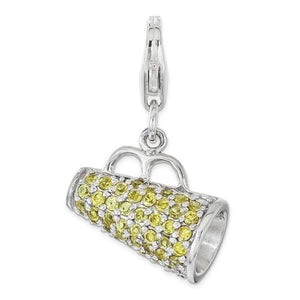 Sterling Silver Polished With Yellow CZ 3D Megaphone With Lobster Clasp Charm