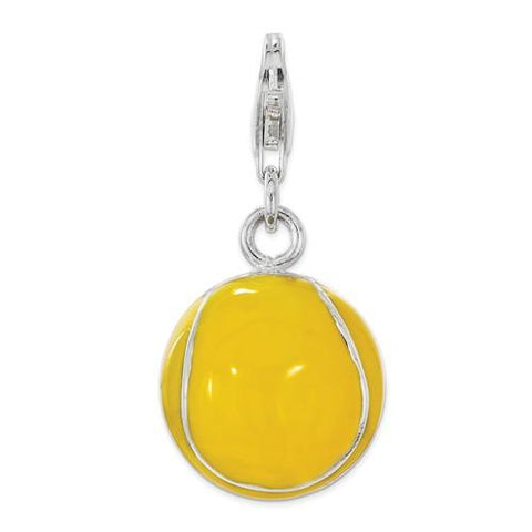 Sterling Silver Polished Enamel Tennis Ball With Lobster Clasp Charm