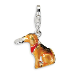 Sterling Silver 3-D Enamel Light Brown Dog And Toy With Lobster Clasp Charm
