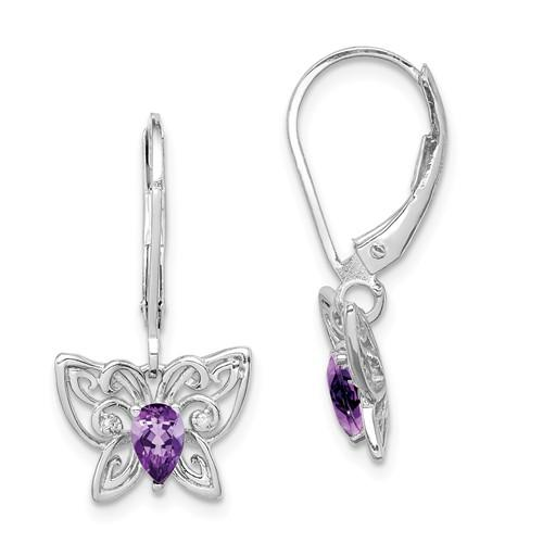Sterling Silver Amethyst Diamond Butterfly Earrings