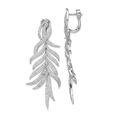Sterling Silver Rhodium Plated CZ Hinged Earring