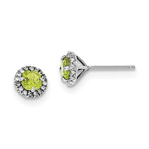 Sterling Silver Rhodium-Plated Peridot And CZ Post Earrings