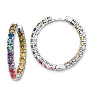 Sterling Silver In And Out Colorful CZ Hoop Earrings