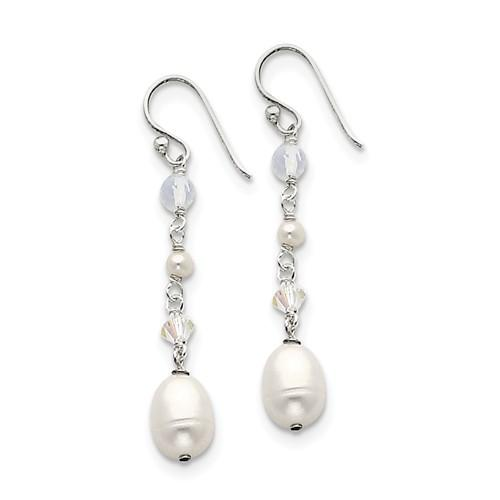 Sterling Silver White Freshwater Cultured Pearl/Opalite Crystal/Crystal Dangle Earrings