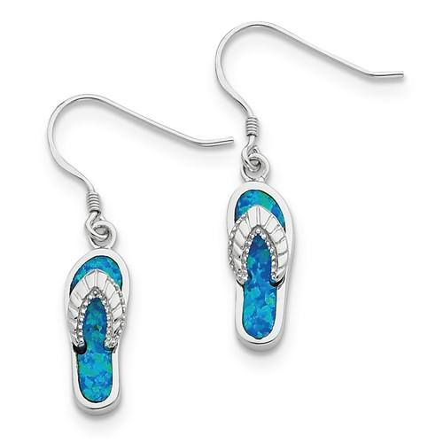 Sterling Silver Created Blue Inlay Opal Sandal Dangle Earrings