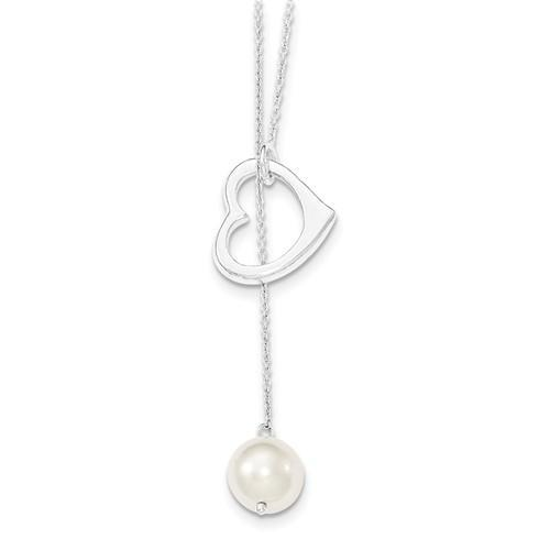 Sterling Silver And Simulated Pearl Polished Heart Necklace