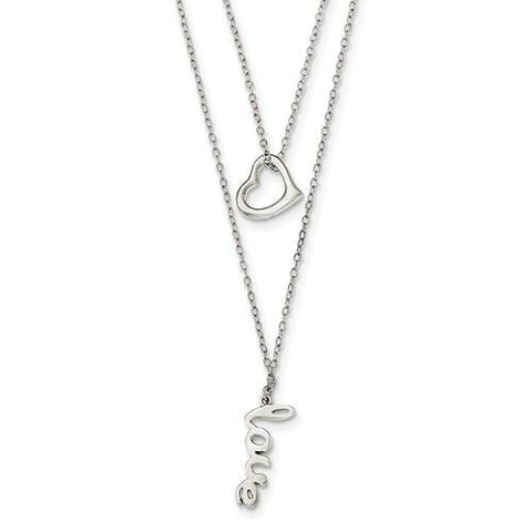 Sterling Silver Polished LOVE with Heart 2-Strand Necklace
