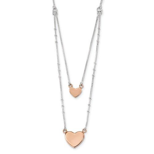 Sterling Silver Rose-Tone Double Heart 18in Necklace