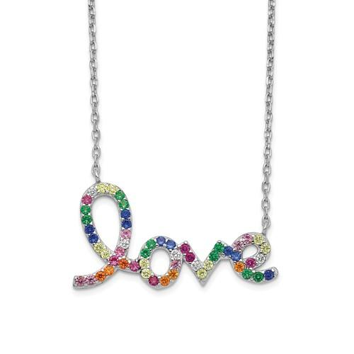 Sterling Silver Colorful CZ Love With 2in Ext Necklace