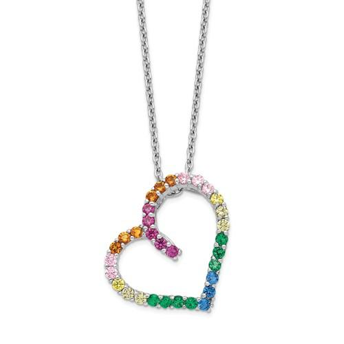 Sterling Silver Colorful CZ Open Heart Necklace