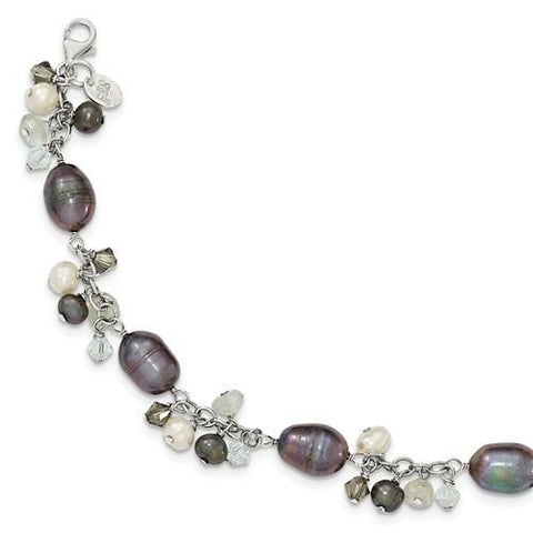 Sterling Silver Crystal /Fresh Water Cultured Pearl Bracelet