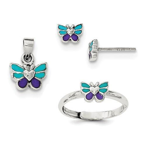 Sterling Silver Butterfly Children's Earring, Ring And Pendant Set