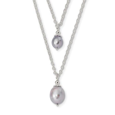 Sterling Silver Double Pattern with light Grey FW Cultured Pearl Neck