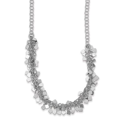 Leslie's Sterling Silver Rhodium-Plated With 2in Ext. Necklace