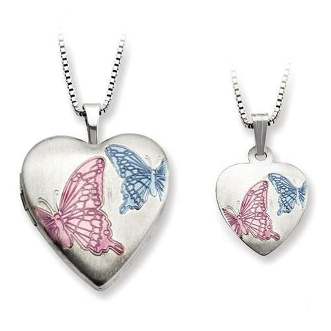 Sterling Silver Enamel Butterflies Heart Locket And Pendant