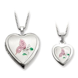 Sterling Silver Butterfly Heart Locket And Pendant Set