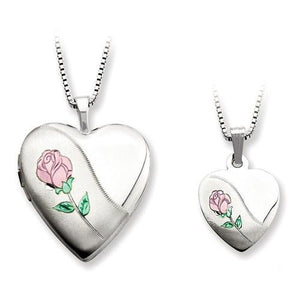 Sterling Silver Rose Heart Locket And Pendant Set