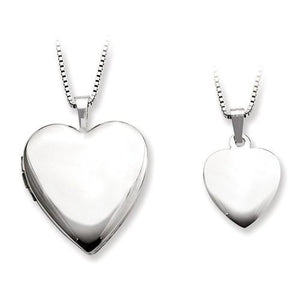 Sterling Silver Plain Heart Locket And Pendant Set