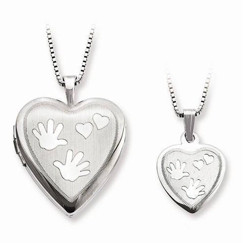 Sterling Silver Satin Hand And Hearts Locket And Pendant