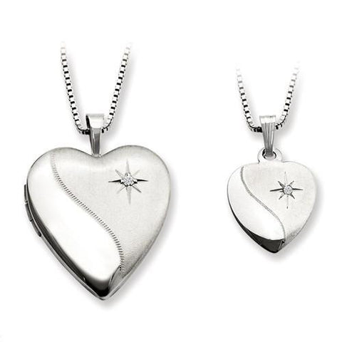 Sterling Silver Star in Heart Locket And Pendant Set