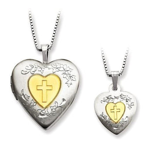 Sterling Silver Gold-Plated Cross Locket And Pendant Set