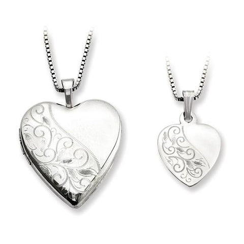 Sterling Silver Swirl Design Heart Locket And Pendant Set