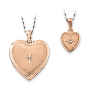 Sterling Silver Rose Gold-Plated Diamond Polished Satin Heart Locket And Pendant Set