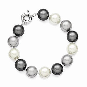 Sterling Silver Majestik 12-13mm Multi-Color Shell Bead Bracelet