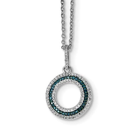 Sterling Silver Blue And White Diamond Circle Pendant