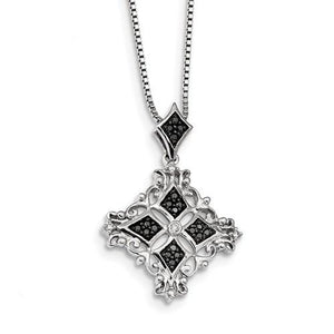 Sterling Silver Black And White Diamond Pendant