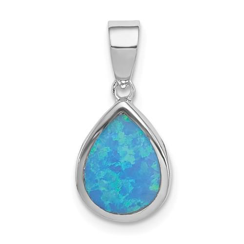 Sterling Silver Lab Created Opal Polished Teardrop Pendant