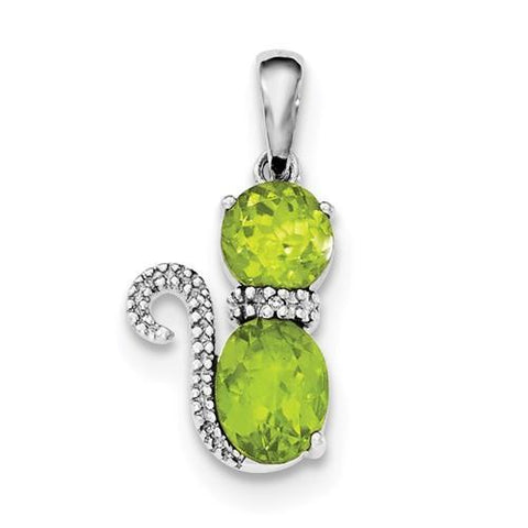 Sterling Silver Rhodium-Plated Peridot And Diamond Cat Pendant