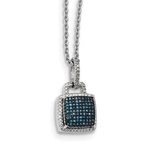 Sterling Silver Blue And White Diamond Square Pendant