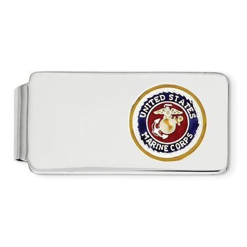 Sterling Silver Rhodium U.S. Marine Corp Money Clip With Gold Border, Silver