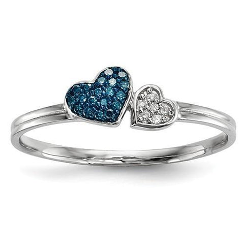 Sterling Silver Blue And White Diamond Hearts Ring