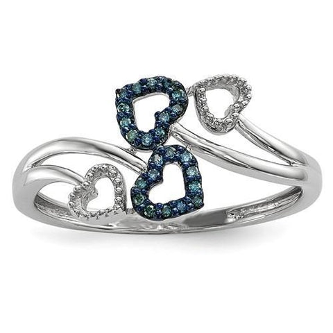 Sterling Silver Blue And White Diamond Multi Heart Ring