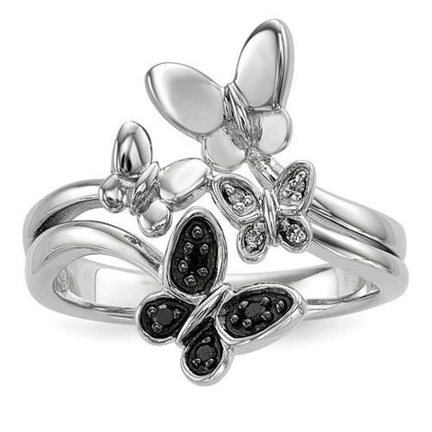 Sterling Silver White And Black Diamond Butterfly Ring