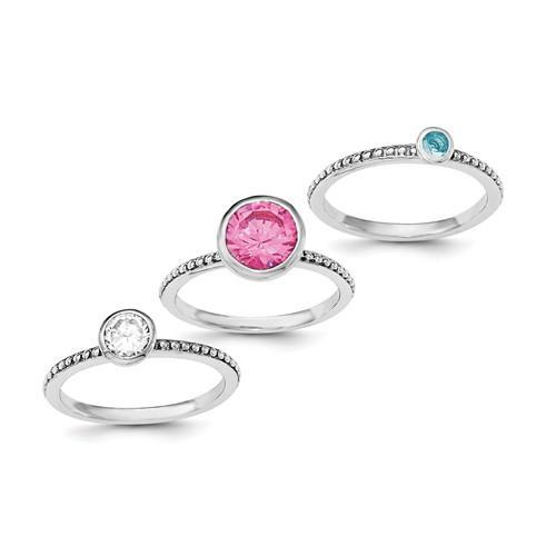 Sterling Silver Rhodium-Plated With Pink And White CZ And Blue Glass Ring Se